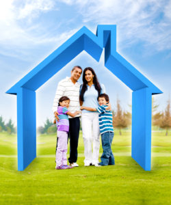 Family buying a house - 3D illustration a green field